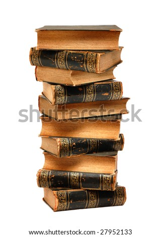 Tower from ancient books isolated over white background