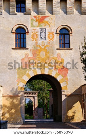 Tower gate of the Abbey of Sesto al Reghena, Italy - stock photo