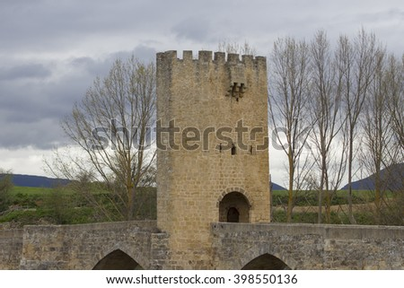 Tower in a Roman bridge located in northern Spain.