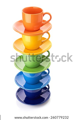tower made from multicolored cups - stock photo
