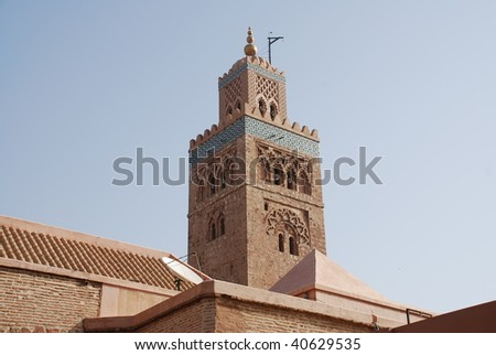 tower mosque in morocco - stock photo