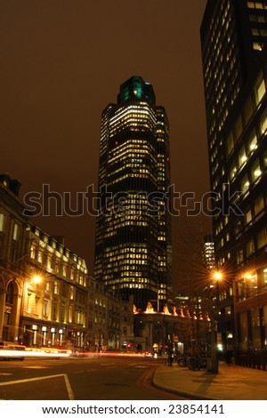 Tower 42 (Natwest Tower) in the City of London, England at night - stock photo