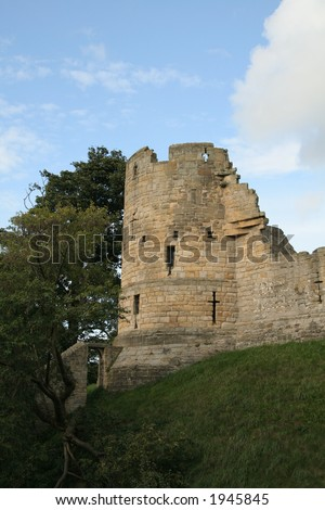 Tower of a Prudhoe Castle Northumberland - stock photo