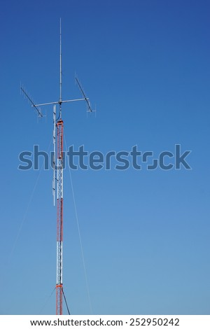 tower of antenna signal with the blue sky - stock photo