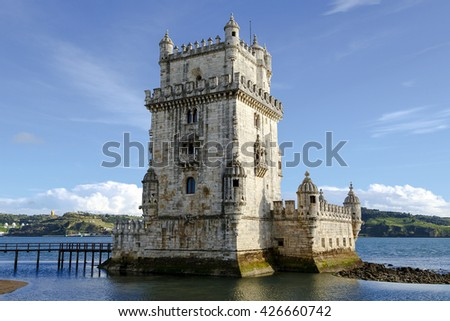 Tower of Belem monument, an example of Manueline architecture in Belem, Portugal