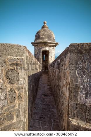 Tower of Castillo San Felipe Del Morro in Old San Juan, Puerto Rico - stock photo
