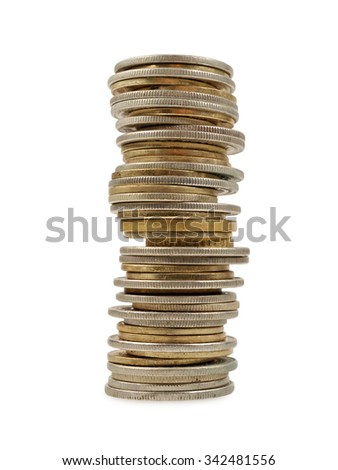 tower of coins isolated on white background, studio shot - stock photo