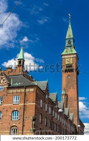 Tower of Copenhagen City Hall - Denmark - stock photo