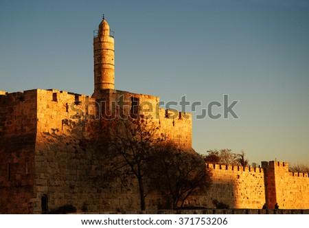 Tower of David (or Jerusalem Citadel) at golden sunset. Jerusalem (Israel).  - stock photo