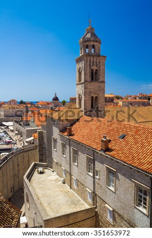 Tower of Dominican Church and Monastery in Dubrovnik from the old town walls, Croatia