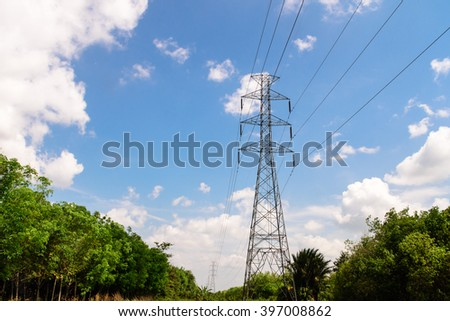 Tower of High voltage electrical power  - stock photo