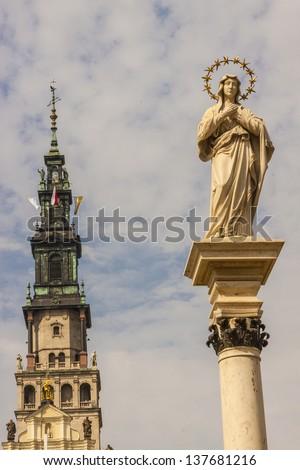 Tower of Jasna Gora Sanctuary - Czestochowa, Poland. - stock photo