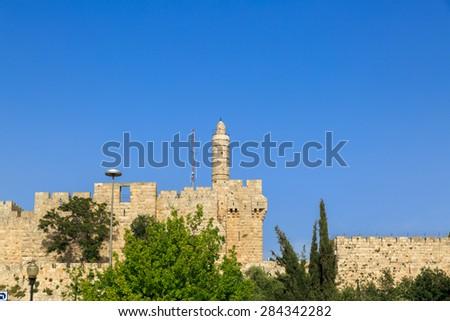 Tower of King David, at the old city walls of Jerusalem - stock photo