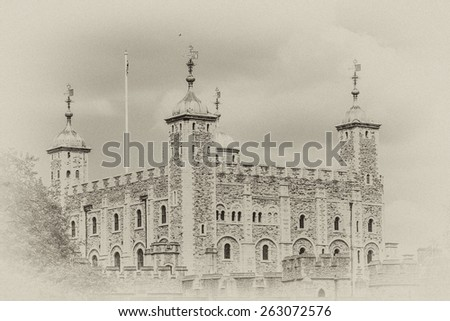 Tower of London (Her Majesty's Royal Palace and Fortress) - historic castle on the north bank of the River Thames in central London - a popular tourist attraction. Antique vintage. - stock photo