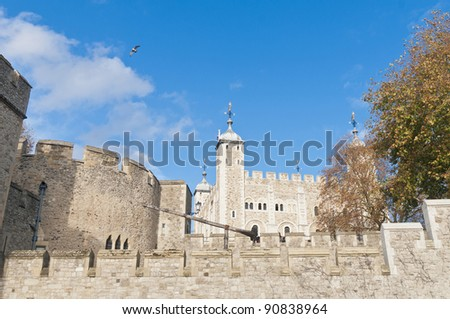 Tower of London on Thames river shore at London, England