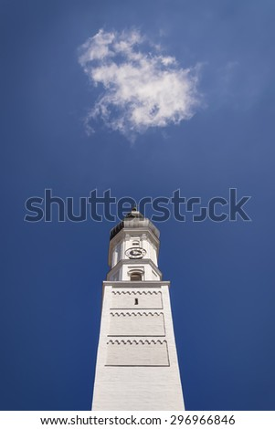 Tower of Maria Himmelfahrt church in Bavarian town Landsber am Lech Germany - stock photo