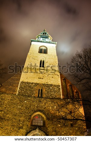 Tower of St. Mary's Church (Marienkirche)in Berlin, Germany - stock photo