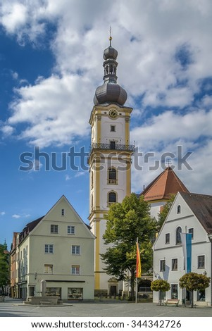 tower of St. Michael  Protestant church in Weiden in der Oberpfalz, Germany