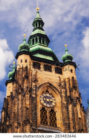 Tower of St. Vitus cathedral in Hradcany, Prague - stock photo