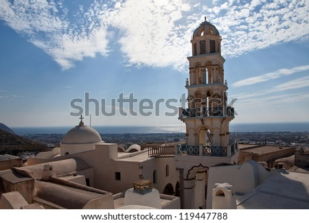 Tower of the Church on  background  blue sky