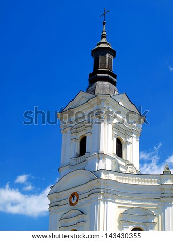 Tower of the church, the Basilica of the Shrine of the Virgin Mary in Kodeniu on the Bug River in Poland