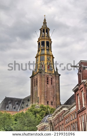 Tower of the Der Aa-kerk church in Groningen, Holland - stock photo