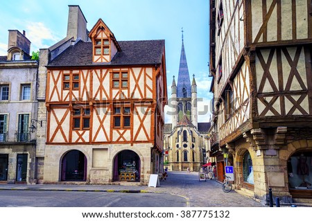 Tower of the Notre-Dame of Dijon church in the old town of Dijon, Burgundy, France - stock photo