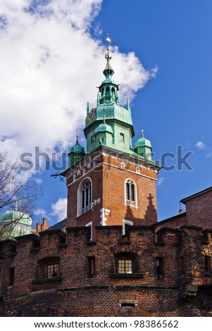 Tower of Wawel cathedral in royal city of Krakow, Poland