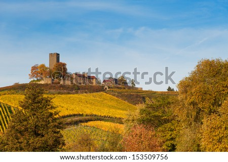 Tower on a hill with vineyards in Kraichgau/Germany - stock photo