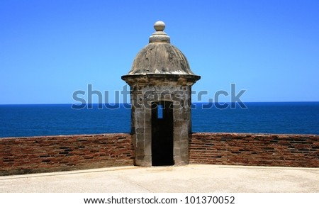 Tower on a historic fort, Old San Juan, Puerto Rico - stock photo