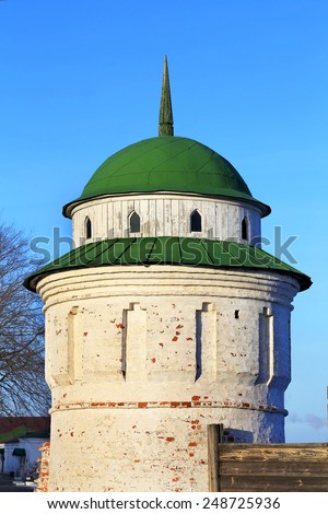 Tower the fence of ancient fortress  - stock photo