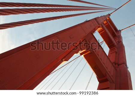 Tower view of the Bridge - stock photo