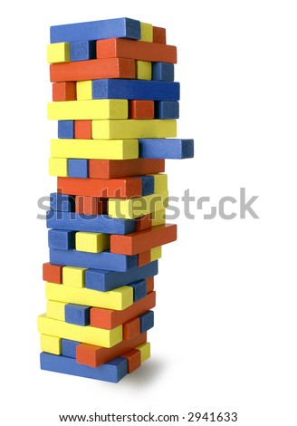 Tower with protruding block leans to the right - isolated on white background. - stock photo