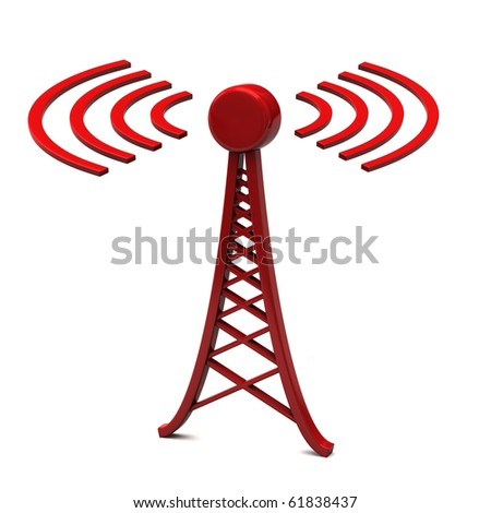 Tower with radio waves - stock photo