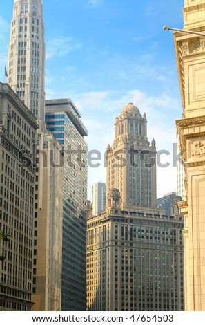 Towering buildings fronting the Chicago River in Chicago Illinois - stock photo