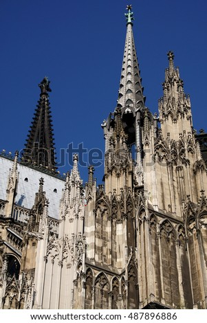 Towers and spires of St. Peter's Cathedral in  Cologne, Germany