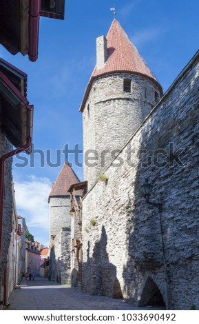 Towers and the wall of the Tallinn fortress