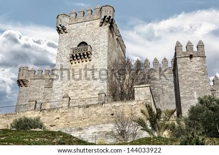 Towers of Castle of Almodovar del Rio, Cordoba, Andalusia, Spain - stock photo