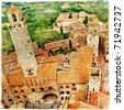 towers of medieval italian town San Gimignano - stock photo