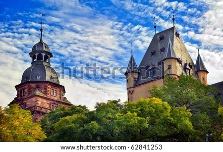 Towers of old Johannisburg castle in Aschaffenburg on Main river, Bavaria, Germany - stock photo