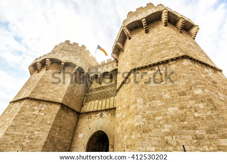 Towers of Serranos (were built 1392-1398 by the architect Pere Balaguer) in Valencia. Spain - stock photo