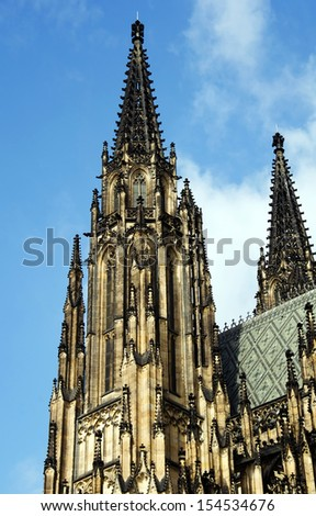 Towers of St Vitus Cathedral from Prague,Czech Republic. - stock photo