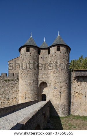 Towers of the fortress of Carcassonne (France).