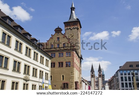 Towers of the old city hall and the Wurzburger Dom cathedral in Wurzburg, Germany - stock photo