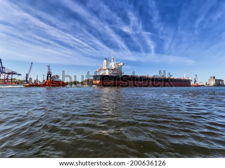 Towing vessel in the Port of Gdansk, Poland - stock photo