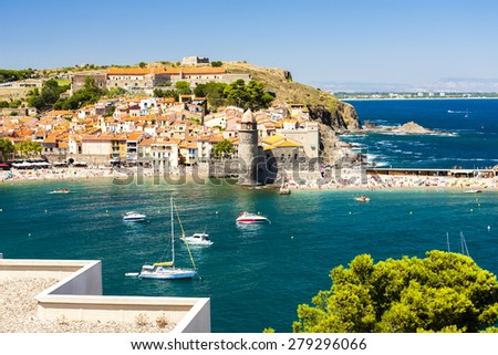 town and harbour of Collioure, Languedoc-Roussillon, France - stock photo