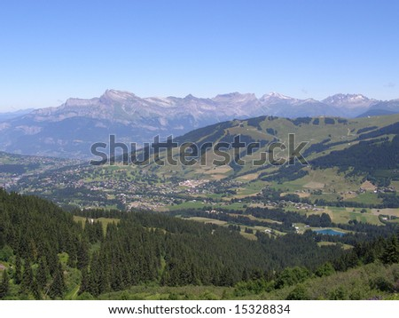 Town and mountains in France