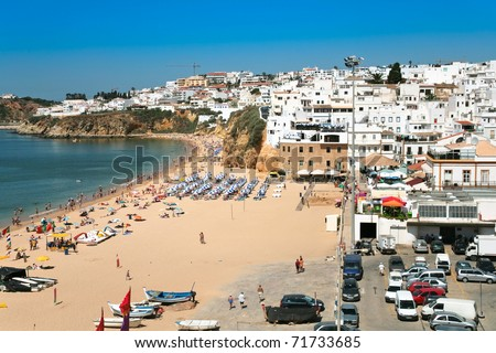 town beach of Bryn at Albufeira, Portugal - stock photo