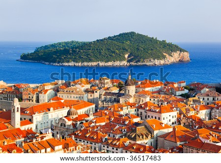 Town Dubrovnik and island in Croatia - abstact travel background - stock photo