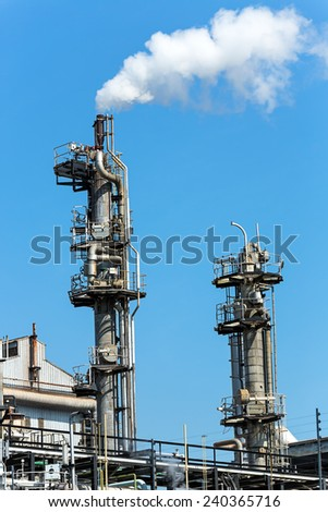 Town gas is produced at production plant - stock photo